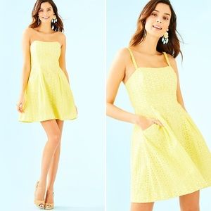 NWT Lilly Pulitzer Yellow Eyelet Blossom Dress 14